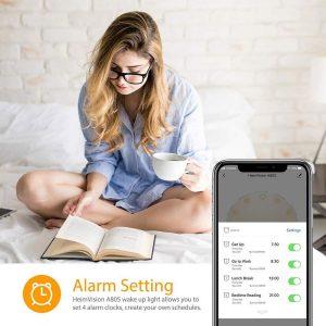 HeimVision Sunrise Alarm Clock and smartphone
