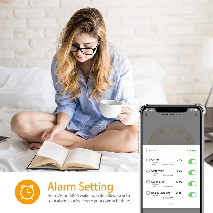 HeimVision Sunrise Alarm Clock and smartphone