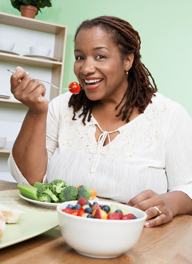 Lady with healthy dinner